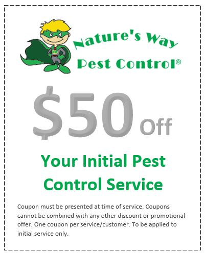 Nature's Way Pest Control $50 off service coupon